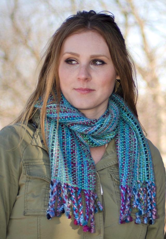 blue scarves covered bridge