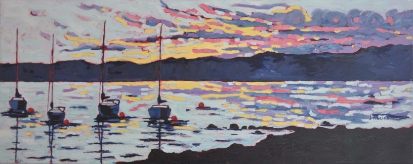 Boats at Sunset 16x40